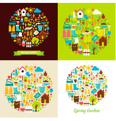 Flat spring garden objects concepts vector