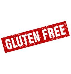 Square grunge red gluten free stamp vector