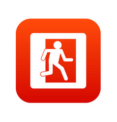 fire exit sign icon digital red vector image