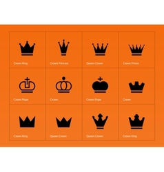Crown icons on orange background vector