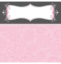 pink background with decorative flowers vector image