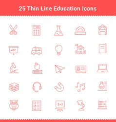 Set of Thin Line Stroke Education Icons vector image