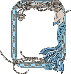 Sea frame with mermaid and knots vector image