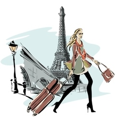 Fashion models with luggage in sketch style and vector