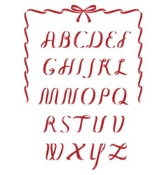 Christmas ribbon alphabet vector image