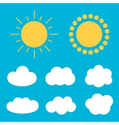 Flat design cartoon cute cloud and sun set vector