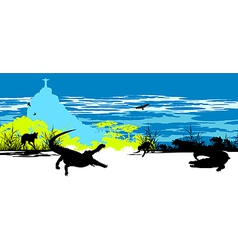 Wild crocodiles vector