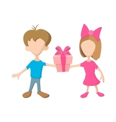 A girl and a boy holding a gift box with ribbon vector image vector image