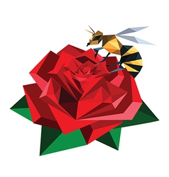 bee sitting on origami rose vector image vector image