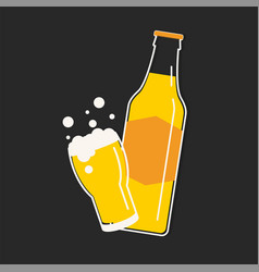 beer bottle and glass vector image vector image