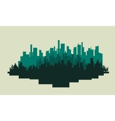 Big city silhouettes scenery vector