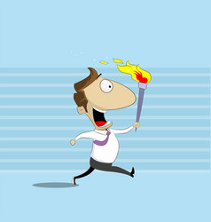 businessman runs holding burning torch vector image vector image
