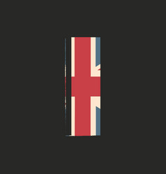Capital 3d letter i with uk flag texture isolated vector