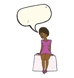 Cartoon curious woman sitting with speech bubble vector