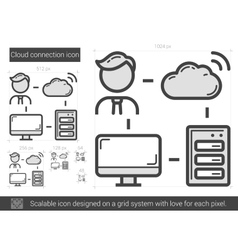 Cloud connection line icon vector