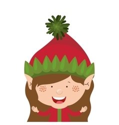 Color image with half body christmas gnome girl vector