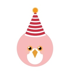 Cute pink bird with party hat vector