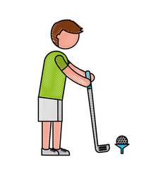Ethlete practicing golf avatar vector