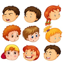Faces of girl and boys with emotions vector