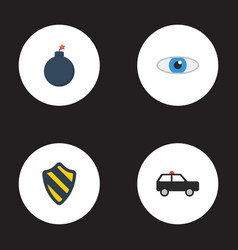 flat icons armored car explosive vision and vector image