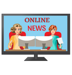 Girls leading news on tv vector
