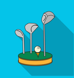 golf ball and clubs on grass icon in flat style vector image vector image