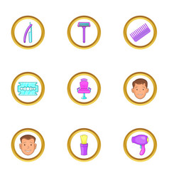 Hairdresser tools icons set cartoon style vector