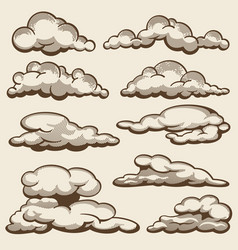 hand drawn clouds in vintage style set vector image