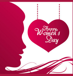 Happy womens day profile girl heart hanging poster vector