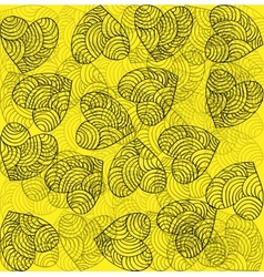 heart decoration festive bright yellow background vector image vector image