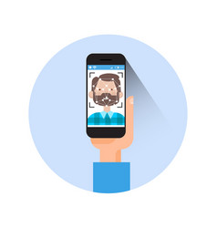 Icon hand holding smart phone scanning man face vector