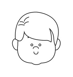 Little boy face smile expression cartoon kid vector