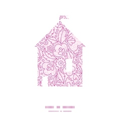 Pink flowers lineart house silhouette pattern vector