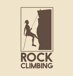 Poster logo silhouette man mountain descent rock vector