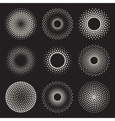 Radial gradient halftone sunburst circle vector