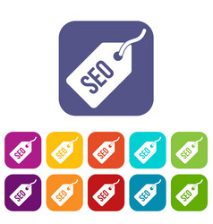 Seo tag icons set vector