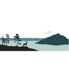 Silhouette of a mountain lake panorama of forest vector