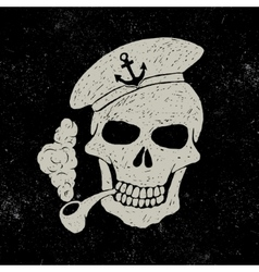 Skull-sailor with pipe vector image vector image
