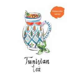 tunisian tea watercolor vector image