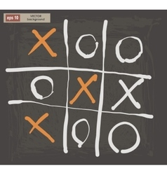 Drawing of tic tac toe on a dark background vector