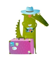 Traveling crocodile tourist with suitcase and vector image