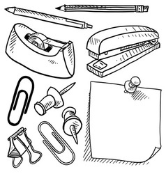 Doodle office supplies vector
