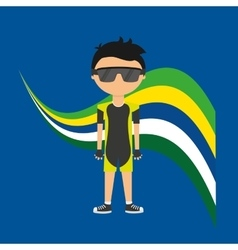 Cartoon cycling player brazilian label vector