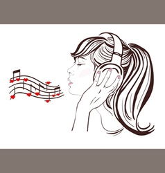 Happy valentine day pretty girl in headphones vector