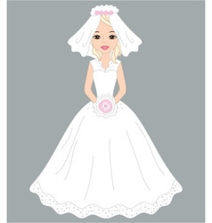 Bride in white dress and veil vector