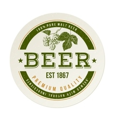 Beer emblem with hand drawn hop brunch vector