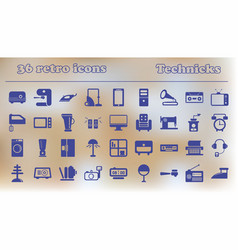 Furniture icons home retro appliances set house vector