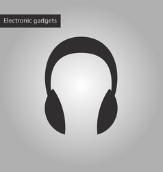 black and white style icon headphones vector image