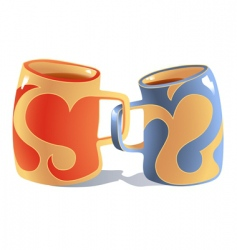 Mugs in love vector