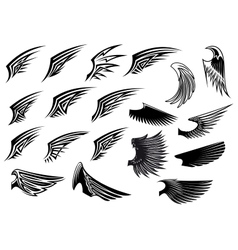 Set of heraldic bird wings vector